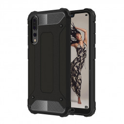 Slim Shockproof Hybrid Rugged Armor Case Hard PC Soft TPU Bump Back Cover for Huawei P20 Pro - Black