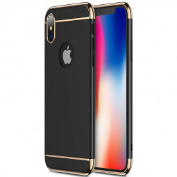 Ultra-thin Slim Grind PC Case 3in1 Luxury Stylish Hard Plastic Shockproof Back Cover for iPhone X/XS - Black