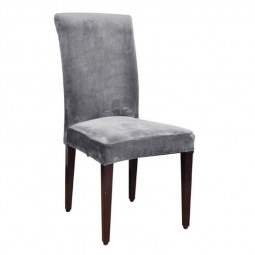 Removable Stretch Chair Cover Soft Spandex Washable Dinning Room Seat Slipcover - Silver Grey