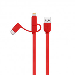 1M 3in1 Multi-function Charge Cable 8pin Type-c Micro USB Charging Line - Red