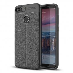 Litchi Grain TPU Bumper Case Slim Flexible Anti-slip Rubber Back Cover for Huawei Honor 9 Lite - Black
