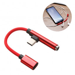 0.15M 90 Degree Braided USB Type C to 3.5mm Earphone Jack Audio Charge Cable Adapter - Red