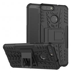Huawei P Smart Hybrid Rugged Armor Kickstand Bumper Shockproof Case Back Cover - Black