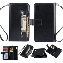 Luxury Wallet PU Leather Flip Stand Case Cover with Zipper 9 Card Slots for iPhone X/XS - Black