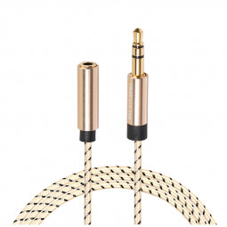 3.5mm Jack Male to Female Braided Aux Cable Stereo Audio Extender Cord for Headphone - 0.5M