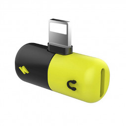 2in1 8pin Splitter Adapter Charger Headphone Jack Dongle for iPhone - Black+Yellow