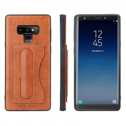 Slim Hybrid TPU Bump PU Leather Case Built-in Card Slot Kickstand Back Cover for Samsung Note 9 - Brown