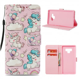 Unicorn Pattern PU Leather Wallet Case Credit Card Magnetic Flip Stand Cover for Samsung Note 9 - Unicorn 1