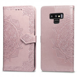Retro Vintage Flower Printed PU Leather Wallet Flip Stand Case Cover for Samsung Note 9 - Rose Golden