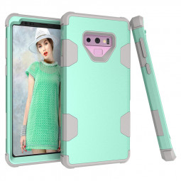 Hard PC Soft TPU Bumper Hybrid Armor Shock Absorption Case Back Cover for Samsung Note 9 - Green