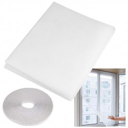 Self-adhesive Window Mesh Curtain Screen Net Cover for Bugs Fly Insect Mosquito - White