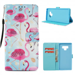 3D Flamingo Pattern PU Leather Wallet Case Magnetic Flip Stand Cover for Samsung Note 9 - Flamingo 1