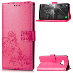Four Leaves Flower PU Leather Case Soft TPU Inner Magnetic Wallet Stand Cover for Samsung Note 9 - Rose Red