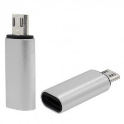 Type-C USB-C Female to Micro USB Male Adapter Converter Connector - Silver