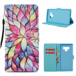 Pattern Painted PU Leather Wallet Flip Stand Case Cover with Card Slots Rope for Samsung Note 9 - Pattern 2