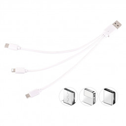 30CM 3in1 Universal Multi USB Charge Cable Cord Adapter for 8pin Micro USB Type C Charging