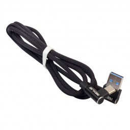 1M 90 Degree Right Angle Braided Type C USB 3.1 Charging Data Cable Cord - Black