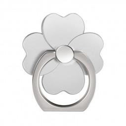 Four Leaf Clover Cellphone Finger Ring Holder 360 Rotation Stand Mount for Mobile Phone Tablet - Silver