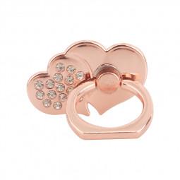 Double Heart Universal 360 Rotating Finger Ring Holder Stand Mount for Cellphone Tablet - Rose Golden