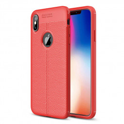 Litchi Texture TPU Case Slim Flexible Rubber Silicone Shockproof Back Cover for iPhone XS Max - Red