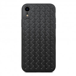 Diamond Woven Texture TPU Case Slim Soft Flexible Rubber Shockproof Back Cover for iPhone XR - Black