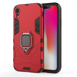 Hybrid Ring Armor Case 360 Ring Stand Holder Magnetic Cover for iPhone XR - Red
