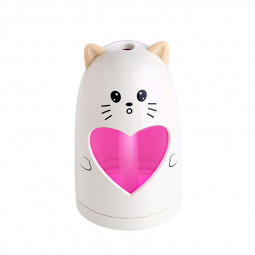 Mini USB Air Humidifier Silent Ultrasonic Diffuser Mist Maker with Colorful Changing LED Light - White Cat