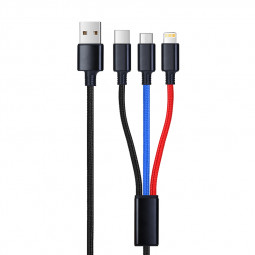 Braided 3in1 Type C 8pin Micro USB Charge Charging Cable Cord - 1.2M