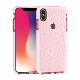 Slim Prism Diamond Pattern Soft TPU Case Silicone Back Cover Shell for iPhone XS Max - Pink