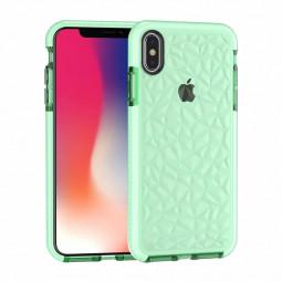 Diamond Prism Slim Soft Flexible TPU Silicone Bumper Back Case Cover for iPhone X/XS - Green