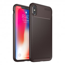 Carbon Fiber Pattern Soft Silicone TPU Anti-Scratch Case Back Cover for iPhone XS Max - Coffee