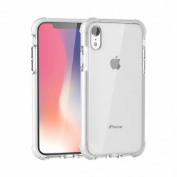 Hybrid Shockproof Clear Soft TPU Case Back Cover with Four Corners Bumper for iPhone XR - White