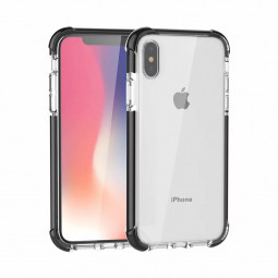 Slim Clear TPU+Acrylic Case Four Corners Bumper Protection Back Cover for iPhone XS Max - Black