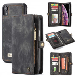 Multifunction PU Leather Wallet Flip Case Cover for iPhone XR - Black