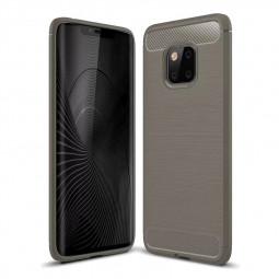 Carbon Fiber Slim Flexible Rubber Gel Shockproof Case Back Cover for Huawei Mate 20 Pro - Grey