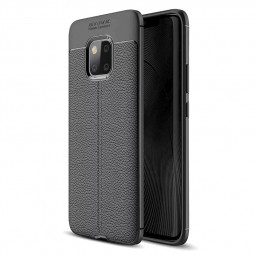 Slim Litchi Texture Shockproof TPU Soft Case Back Cover for Huawei Mate 20 Pro - Black