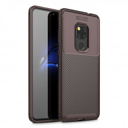 Fashion Carbon Fiber Soft TPU Rubber Shockproof Case Back Cover for Huawei Mate 20 - Brown