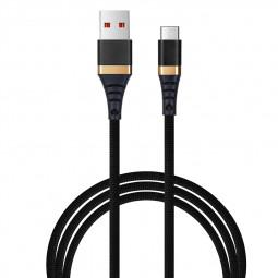 1M Fashion Nylon Braided Micro USB Charge Charging Cable Cord Data Sync Line - Black