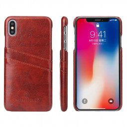 Card Slot Holder PU Leather Case Phone Back Cover for Apple iPhone XS Max - Brown