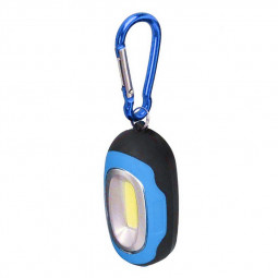 Portable COB Lamp LED Light Flashlight with Key Chain for Camping Hiking - Blue
