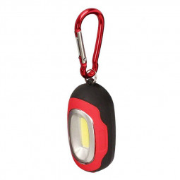 Portable COB Lamp LED Light Flashlight with Key Chain for Camping Hiking - Red