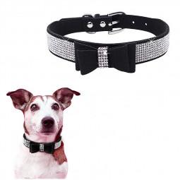 Rhinestone Diamante Dog Collar Soft Bow Tie Pet Puppy Collars Size XXS - Black
