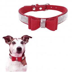 Rhinestone Diamante Dog Collar Soft Bow Tie Pet Puppy Collars Size XXS - Red