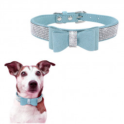 Rhinestone Diamante Dog Collar Soft Bow Tie Pet Puppy Collars Size XXS - Light Blue