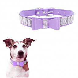Rhinestone Diamante Dog Collar Soft Bow Tie Pet Puppy Collars Size XXS - Light Purple