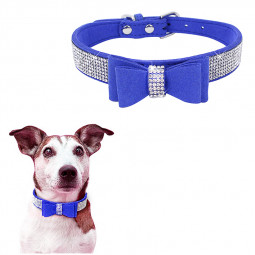 Rhinestone Diamante Dog Collar Soft Bow Tie Pet Puppy Collars Size XXS - Dark Blue