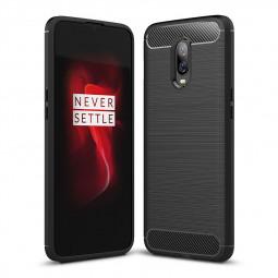 OnePlus 6T TPU Bumper Case Carbon Fiber Back Cover Protector Cellphone Shell-Black