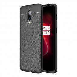 OnePlus 6T Cellphone Case Silicone Soft Shell Full-wrapped TPU Bumper Cover-Black