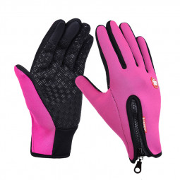 Winter Warm Gloves Men Ski Gloves Snowboard Motorcycle Riding Touch Screen Windproof Size M - Hot Pink