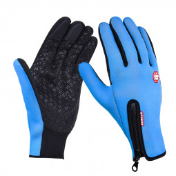 Winter Gloves Cycling for Women Men Touchscreen Cold Weather Driving Heated Ski Gloves Size L - Blue